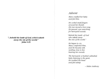 """Advent"" poem by Helen Anthony"
