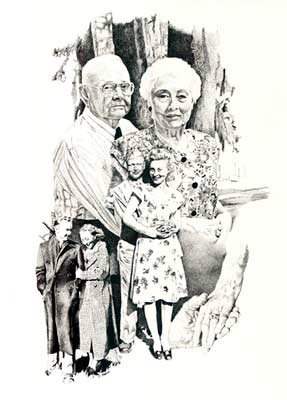 """Through the Years - Beth & Kelly Jones"" pen & ink drawing celebrating a lifetime together"