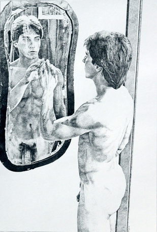 """Old Mirrors, Reflections and Reality"" original pen & ink drawing"