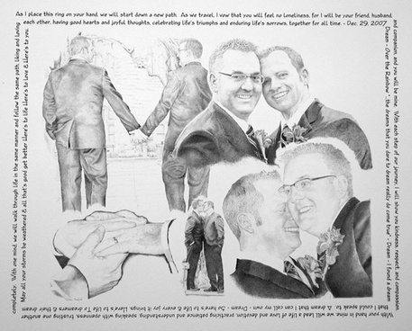 """Andy & Shannon"" pen & ink commemorating their commitment ceremony"
